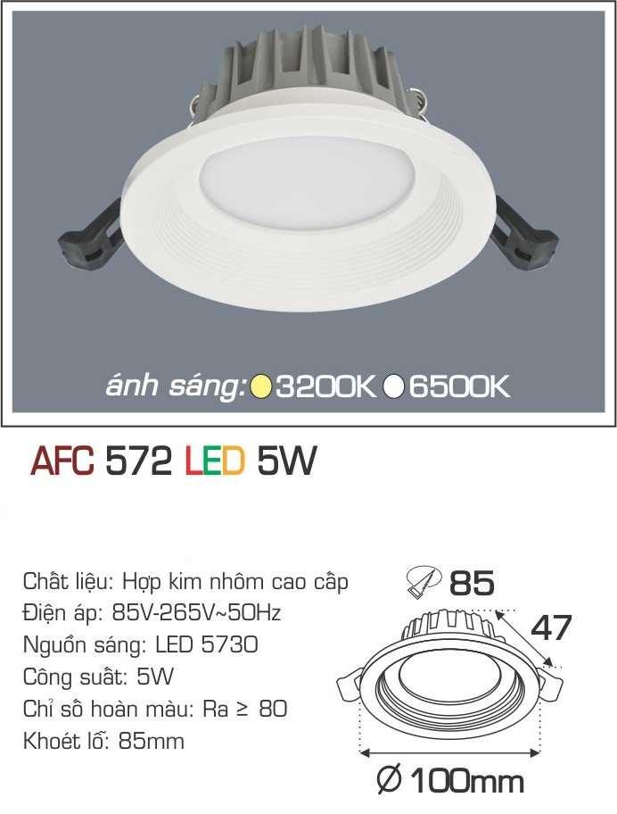 ĐÈN AFC 572 LED 5W 1 CHẾ ĐỘ