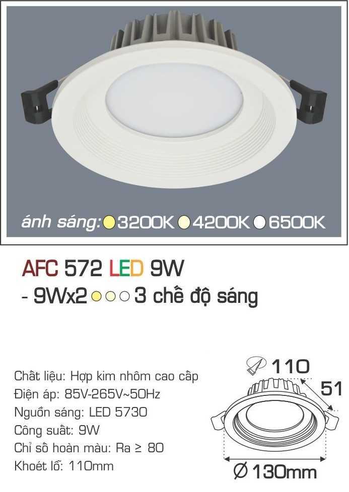 ĐÈN AFC 572 LED 9W 3 CHẾ ĐỘ
