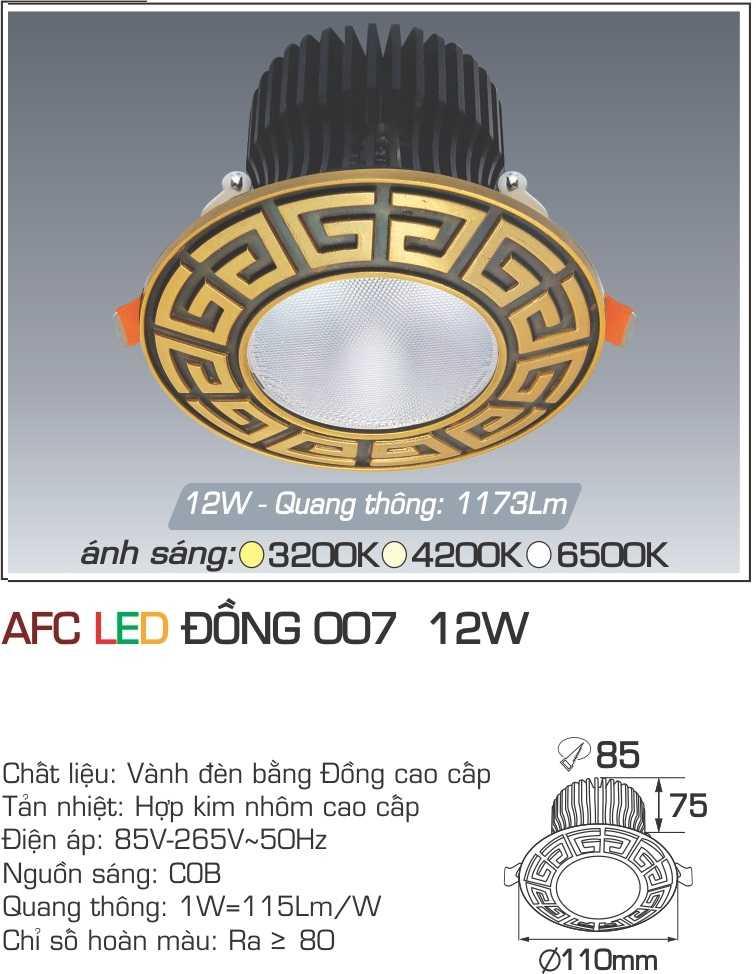 ĐÈN AFC LED ĐỒNG 007 12W