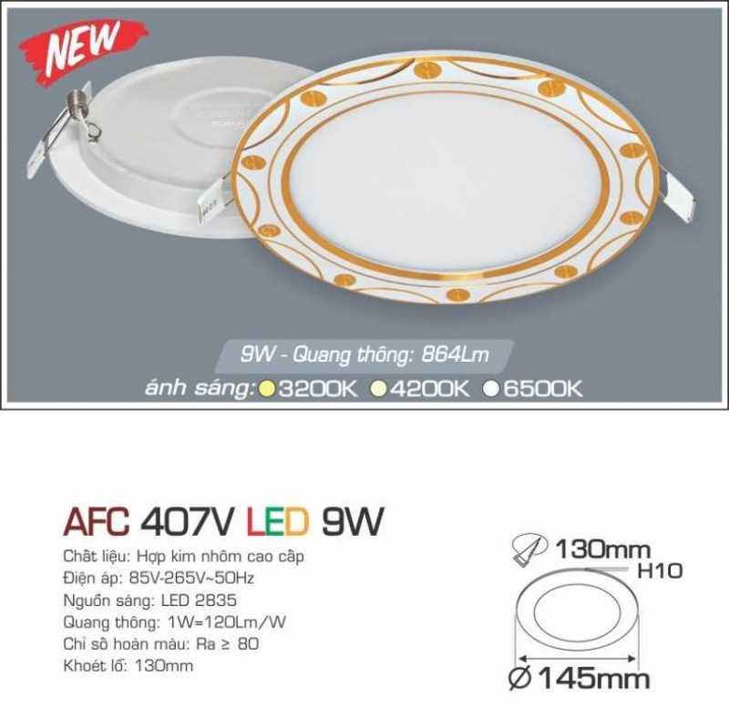 Đèn led âm trần Anfaco 9w –  AFC 407V 9W