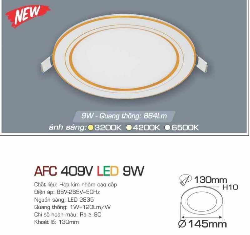 Đèn led âm trần Anfaco 9w – AFC 409V 9W