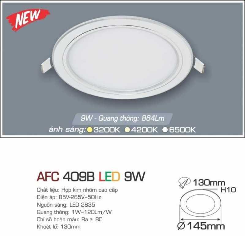 Đèn led âm trần Anfaco 9w – Mã AFC 409B 9W