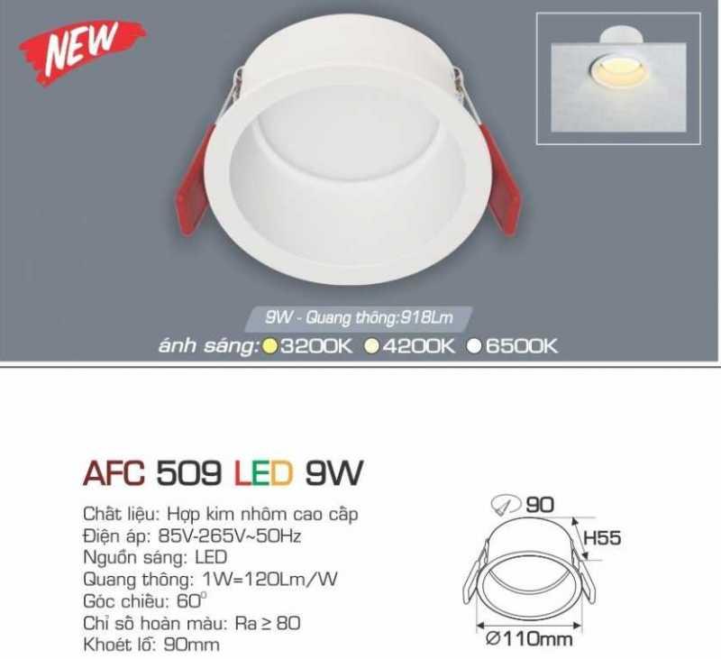 Đèn led âm trần Anfaco 9w – Mã AFC 509 9W