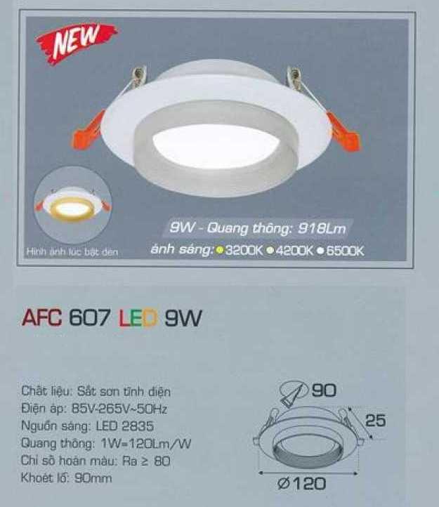 Đèn led âm trần Anfaco 9w – Mã AFC 607 9W 1C