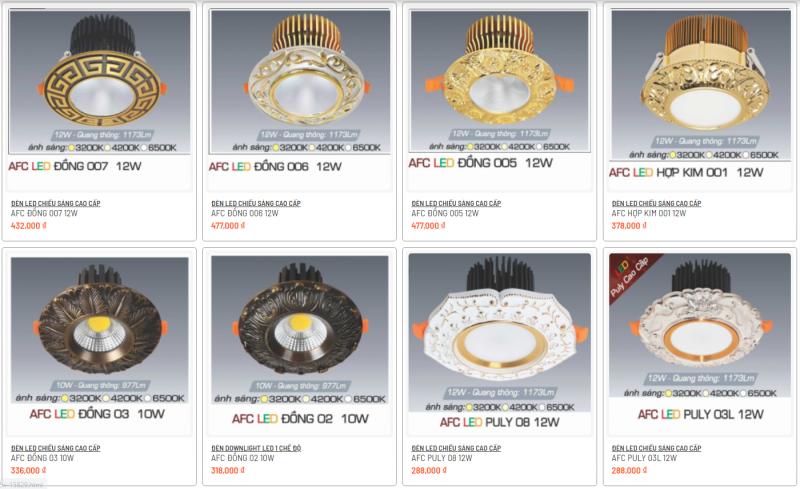 Một số mẫu đèn led âm trần Anfaco cao cấp