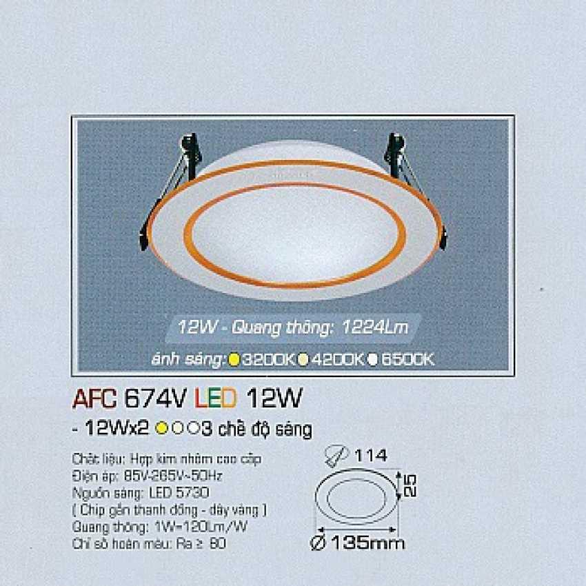Đèn dowlight 3 chế độ AFC 674V 12W 3C