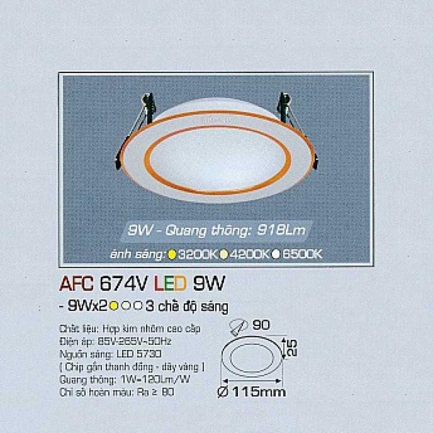 Đèn dowlight 3 chế độ AFC 674V 9W 3C