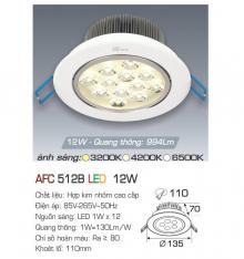 Đèn downlight led 1 chế độ AFC 512B 12W