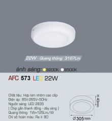 Đèn led nổi cao cấp 1 chế độ AFC 573 22W